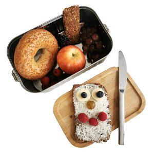 robuste Lunchbox aus Metall mit Bambusdeckel (Spende: 5,- Euro)
